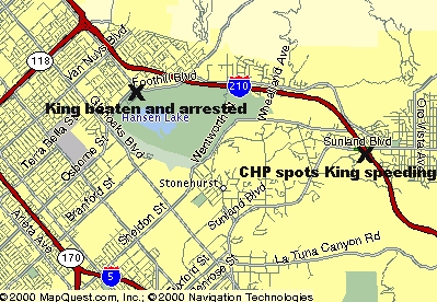 The LAPD Officers' Trial: Maps of Key Locations Chase Locations Map on