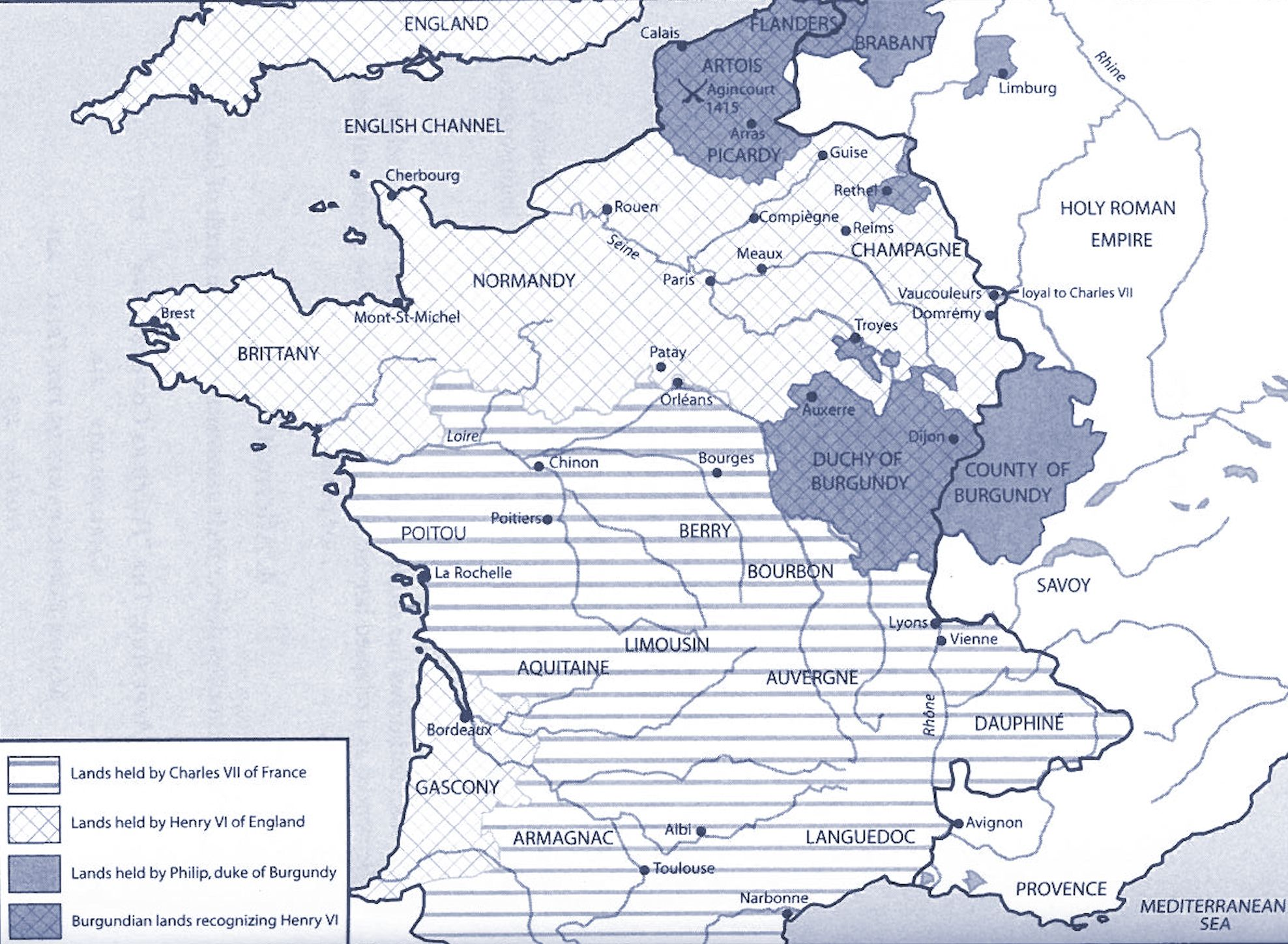 Map Of England To France.Map Of Political Divisions In France In Late 1420s